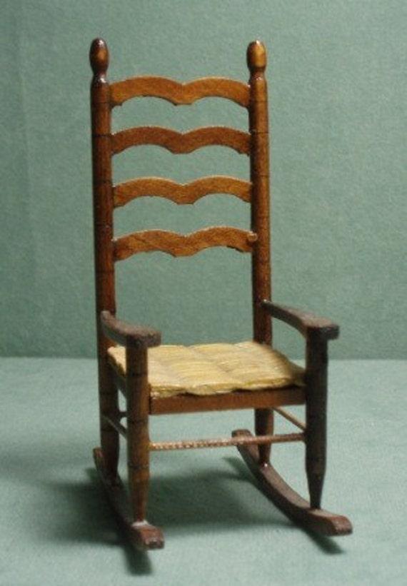 Vintage Ladder Back Rocking Chair By Hartsdesireminis On Etsy