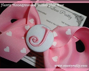 Large Monogrammed Button Polka Dot Hair Bow