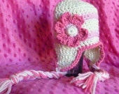 Help A Friend Fundraiser  Pink & Cream Earflap Hat with Flower and Braids Newborn Through Age 12
