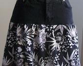 Black Denim skirt  Black and White tropical skirt Recycled Black Jeans