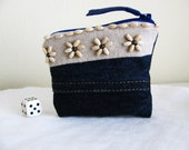 Recycled Blue Jeans Zipper Pouch  Navy Blue Mini Change Purse Reclaimed Denim Reconstructed Eco Friendly Upcycled