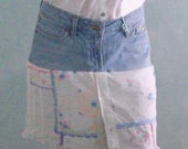 Skirt Recycled Blue Jeans Reclaimed Denim Embroidered Flowers Upcycled Eco Friendly Reconstructed  Patchwork and Lace