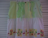 Upcycled Cotton Fruit Salad Skirt Reconstructed Clothing Recycled Eco Friendly Pineapples Cherries