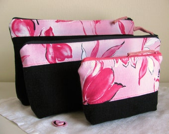 Art Deco Recycled Denim Cosmetic Set Accessory Set  Pink and Black Black Denim Cosmetic Bag 3 Piece Set Upcycled Reconstructed OOAK