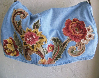 Appliqued Recycled Blue Jeans Messenger Bag Upcycled Reconstructed Denim Repurposed  Earth Friendly Floral Paisley