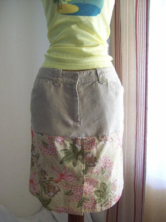 Recycled Khaki Skirt, Pink and Green Floral Skirt, Khaki Skirt, Upcycled Clothing, Button up Skirt