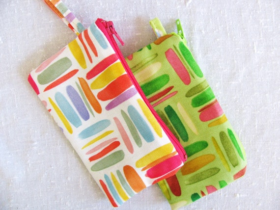 Zipper Change Purse Pocket Wallet Gift Set of 2 Eco Friendly Pink and Green