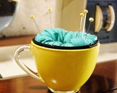 Teal and Yellow Cuppy Cushion