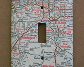 Cleveland Akron Canton Ohio Road Map Light Switch Plate Cover