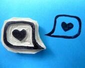 Heart in a Speech Bubble Stamp