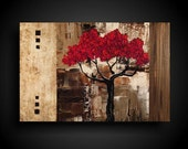 ONEOFAKIND Original Abstract Painting Large Art 24 X 36 Artwork by The Raw Canvas Gallery RED TREE Taupe Brown