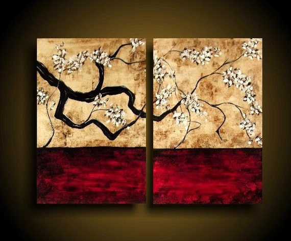 SALE  ONEOFAKIND 2 Piece Diptych Original Abstract Painting Large 30 x 40 Art Artwork by The Raw Canvas Gallery FANTASTIC HOME DECOR Asian Vines White Flowers Champagne Red Black