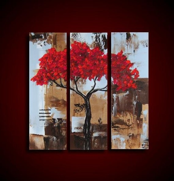SALE ON 3 Piece Original Abstract Painting Large 24 x 24 Art Artwork Red Tree by The Raw Canvas Gallery HOME DECOR Red Brown Blue Large