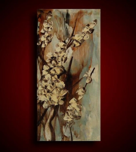 Encaustic. Encaustic Painting. Original Painting. Abstract Painting. Large White Flowers Blossoms Earthy Gift Blue Brown