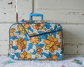 Vintage Floral Mod Suitcase in Orange and Blue -- Made in Japan