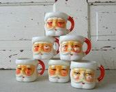Vintage Christmas Winking Santa Mugs Set of 6