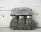 Vintage Bristle Brush with Rustic Wood & Metal Details