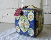 Vintage Tin with Asian Floral Motif in Blue & Gold Sharp's English Toffee