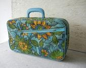 Vintage Floral Suitcase Aqua & Orange Flowers