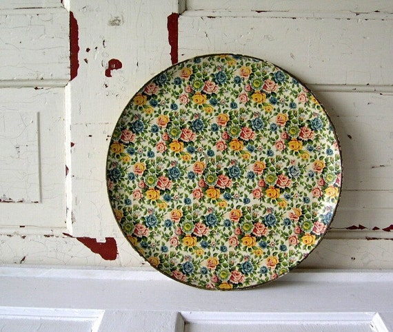 RESERVED for clairemiki   ..Vintage Chintz Roses Papier Mache Tray from Japan