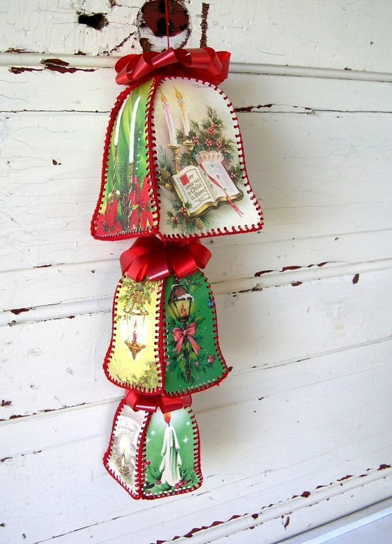 Vintage Christmas Bells made from Vintage Christmas Cards
