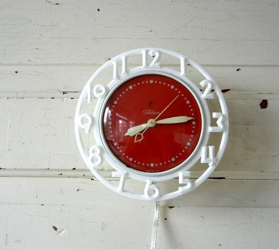 Vintage Telechron Electric Wall Clock Red And White