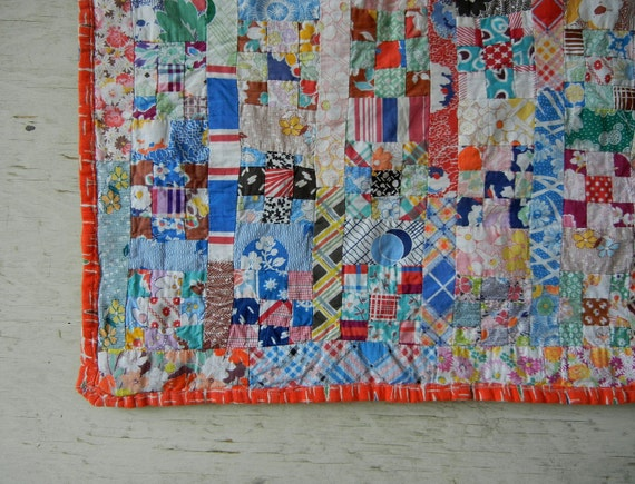 Vintage Feedsack Doll Quilt Handmade with Many, Many Prints