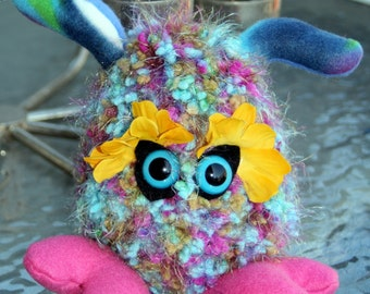 Crochet Plush Creature, Multi Colored Monster Toy Creature Birthday Gift