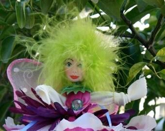 Flower Fairy Doll, Art Doll, Woodland fairy, Fairy Ornament Polymer Clay