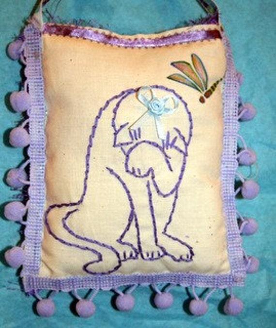 Sachet. Door Pillow, Embroidered Cat Door Pillow
