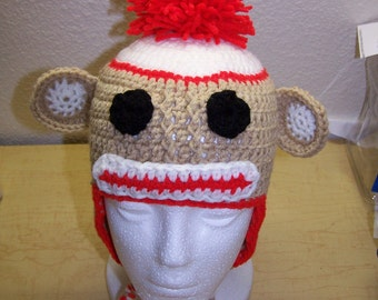 Sock Monkey Earflap Hat for babies and toddlers