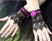 Le Rose - Silk and lace beaded cuffs