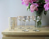 Vintage Barware Gold Banded Champagne Cocktail and Highball Set of Eight