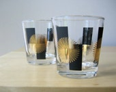 Midcentury Modern LowBall Glasses Set of Four Atomic Design in Black and Gold