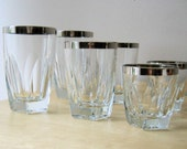 Vintage Mirror Rimmed Highball and Lowball Set of Eight Glasses