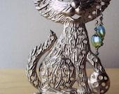 cute cat vintage silverplate earring tree