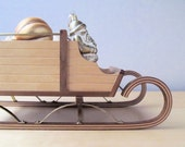 vintage handcrafted maple and walnut sleigh centerpiece HOLIDAY SALE