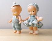 baby blue vintage irwin kewpie doll pair