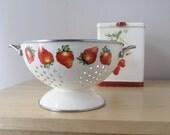 strawberries and cream enamel kitchen colander