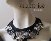 choker necklace, black, crystal, vintage buttons, crocheted bib collar, black widow, goth, victorian