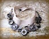 ash gray silver vintage button crocheted bib statement necklace