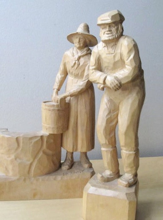 vintage folk art, wood carvings, farmhouse, country couple, artist signed S Boudreault