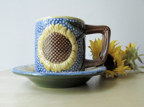 sunflowers and twigs, vintage pottery cups and saucers, vincent van gogh, metropolitan museum