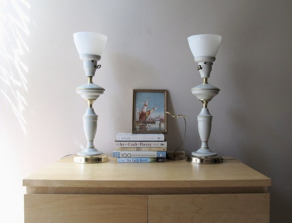 RESERVED vintage table lamps, nautical decor, milk glass shades