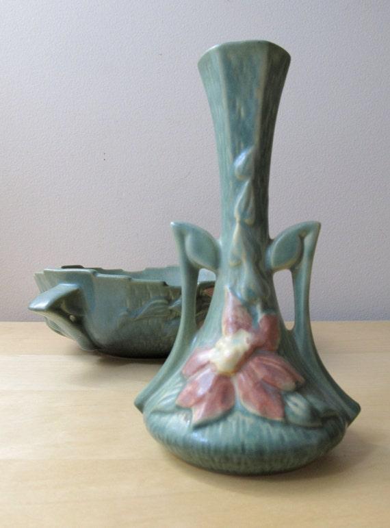 "roseville art pottery bud vase, 187-7"", grayed jade and pink"