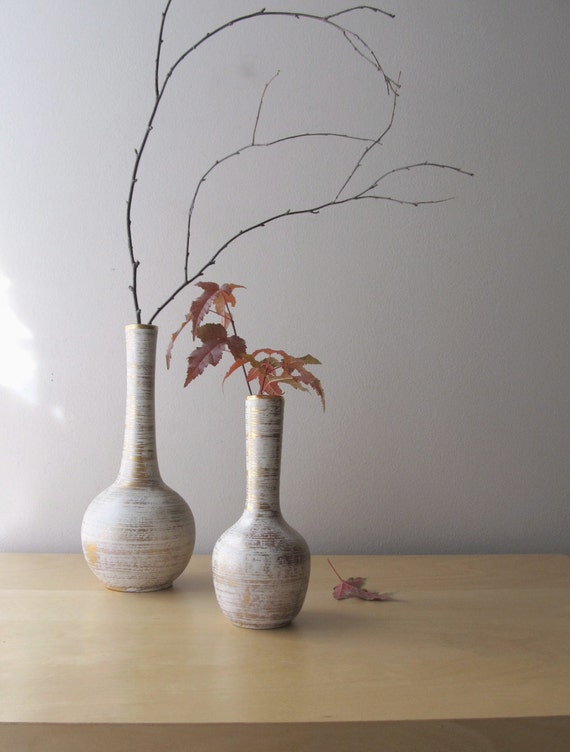 mid century modern haeger gold tweed vases