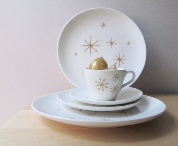 vintage star glow dishes, 55 piece set, royal china plates, cups and saucers, bowls