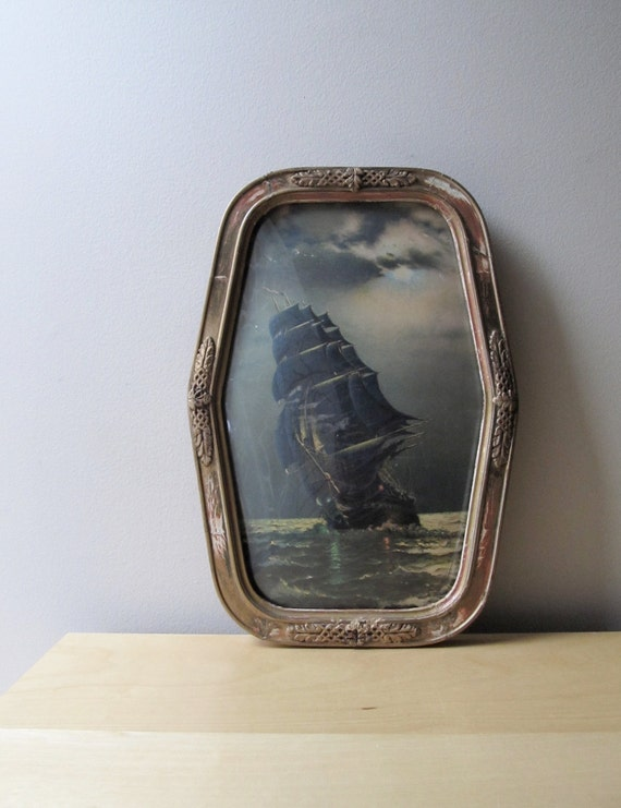 antique convex bubble glass framed ship on high seas