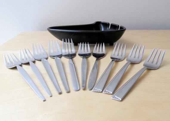 stainless steel forks, atomic age vintage flatware