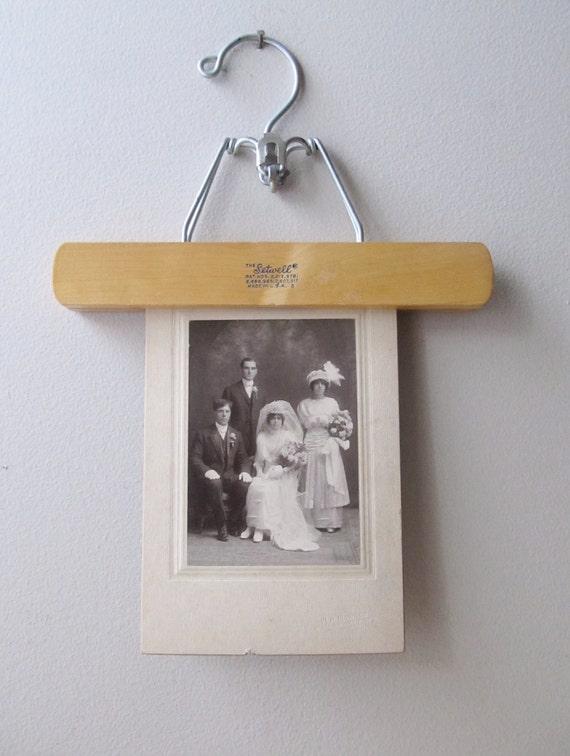 vintage hardwood pants hangers, set of three, photo display